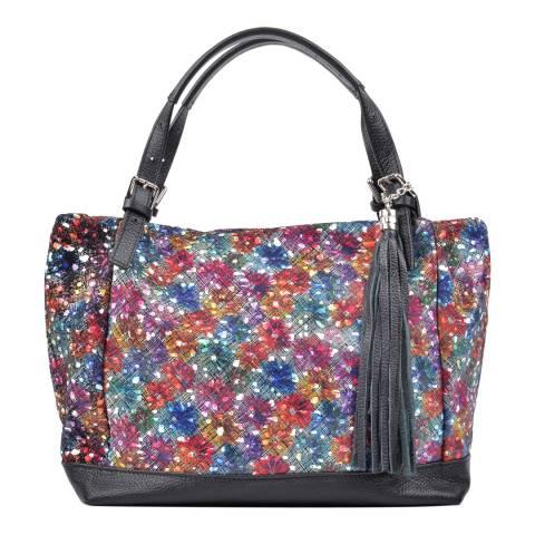 Carla Ferreri Black Leather Print Detail Shoulder Bag