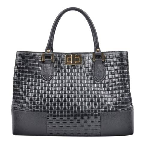 Carla Ferreri Black Weaved Leather Tote Bag