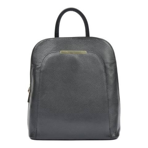 Renata Corsi Black Pebbled Leather Backpack