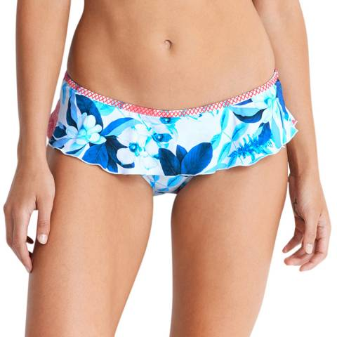 Seafolly White Print Skirted Hipster Bikini Briefs