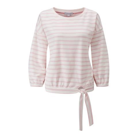 Pure Collection Pale Pink/ Ecru Cotton Tie Hem Sweatshirt