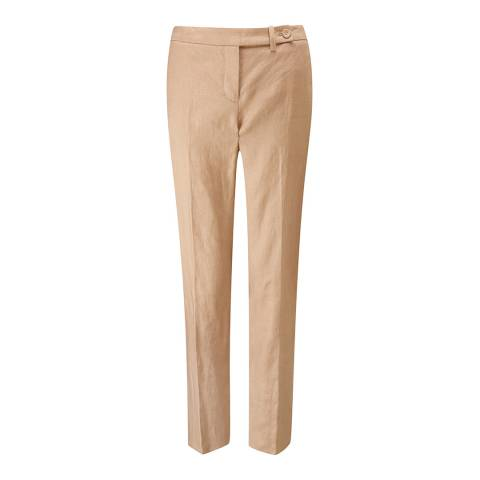 Pure Collection Sand Linen Slim Leg Cropped Trousers
