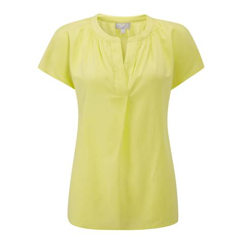 Pure Collection Bright Lime Silk Open Neck Blouse