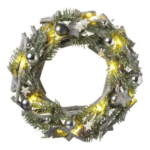 Heaven Sends Silver Woodland Round Light Up Wreath