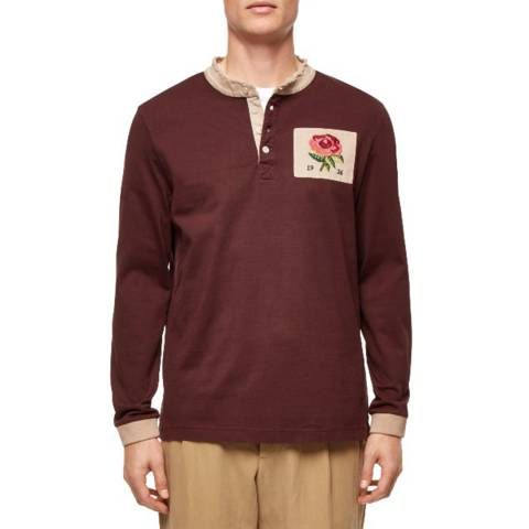 Kent & Curwen Red Raw Collar Long Sleeve Rugby Top
