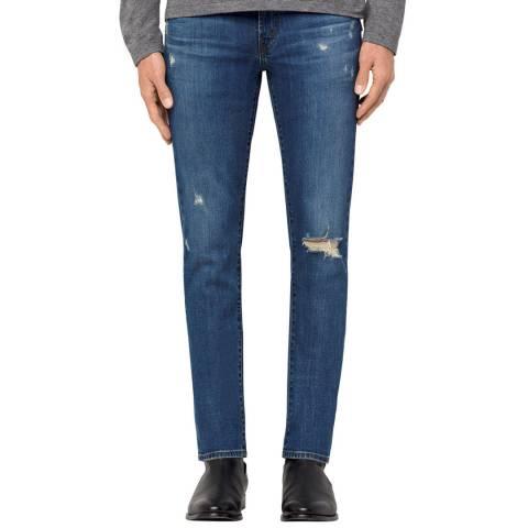 J Brand Blue Distressed Tyler Slim Fit Stretch Jeans