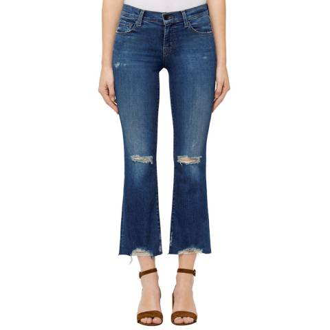 J Brand Indigo Distressed Denim Selena Stretch Bootcut Jeans