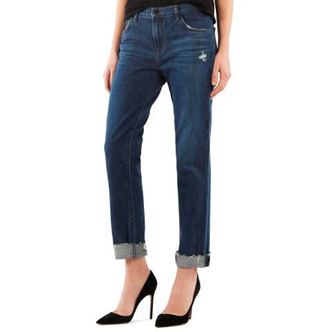 J Brand Dark Blue Johnny Boyfit Cotton Jeans