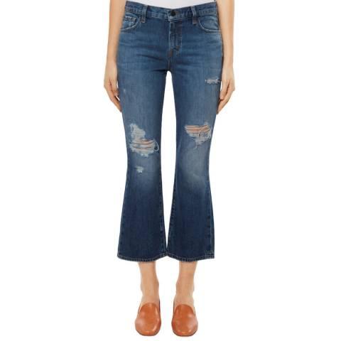 J Brand Ripped Blue Denim Aubrie Cropped Bootcut Stretch Jeans