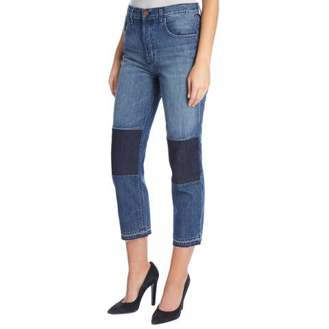 J Brand Blue Patched Wynne Stretch Jeans