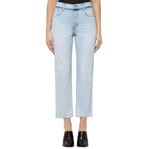J Brand Gemini Blue Distressed Wynne Cropped Stretch Straight Jeans