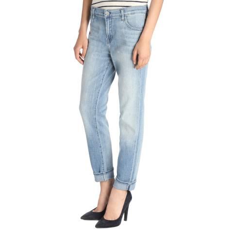 J Brand Blue Distressed Johnny Boyfit Stretch Jeans