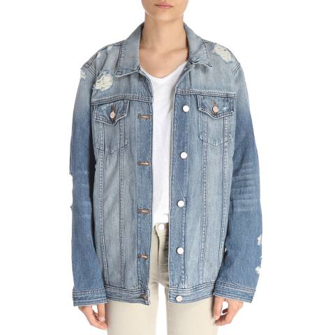 J Brand Blue Cyra Oversized Cotton Jacket