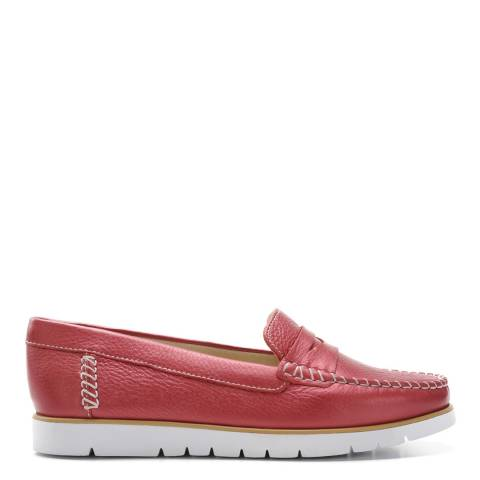 Geox Women's Red Pearl Leather Kookean Loafers