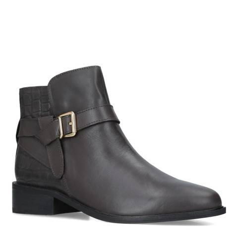 Carvela Grey Leather Twist Ankle Boots