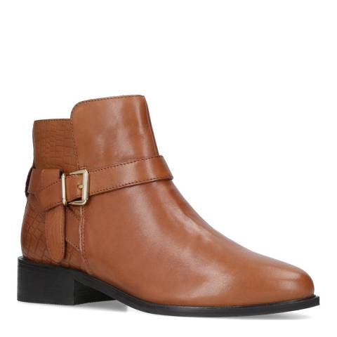 Carvela Tan Leather Twist Ankle Boots
