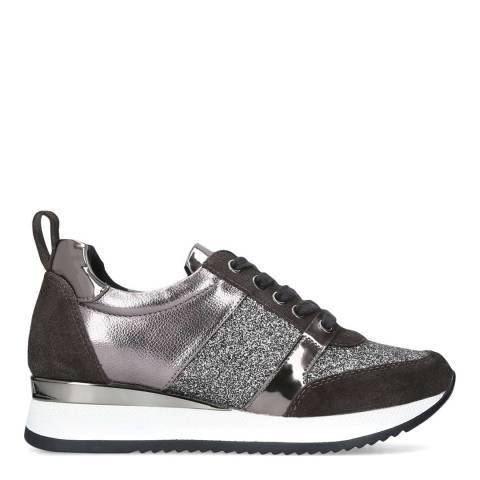 Carvela Pewter Metallic Leather Justified Sneakers