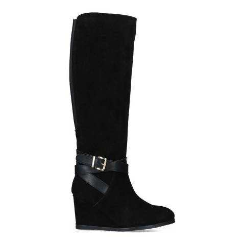 Carvela Black Suede Pledge Wedge Heel High Leg Boots