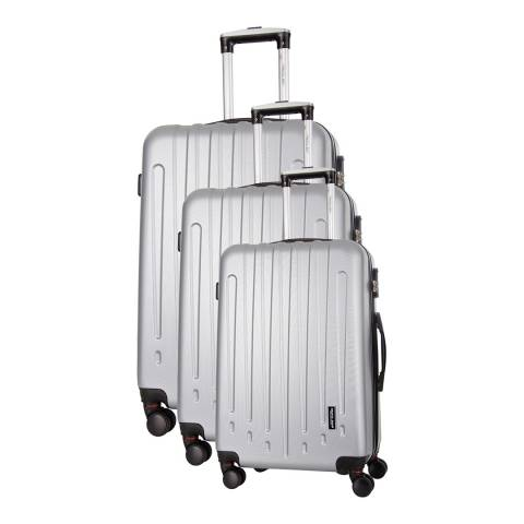 Travel One Silver Haryana Set Of Three 8 Wheeled Suitcases 50/60/70 cm