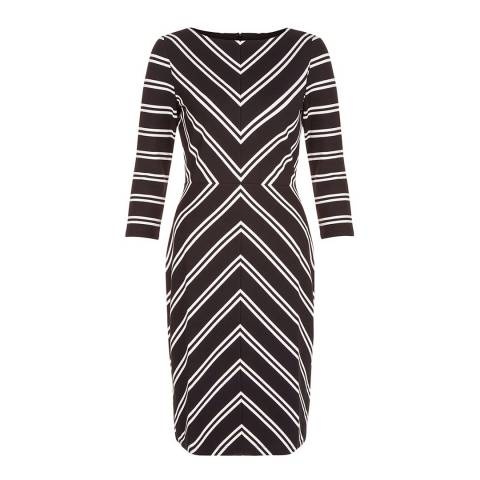 Hobbs London Black/Ivory Monochrome Harris Dress
