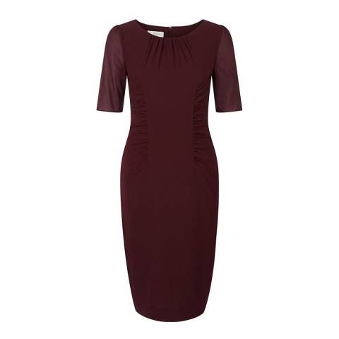 Hobbs London Burgundy Silk Blend Claudia Dress