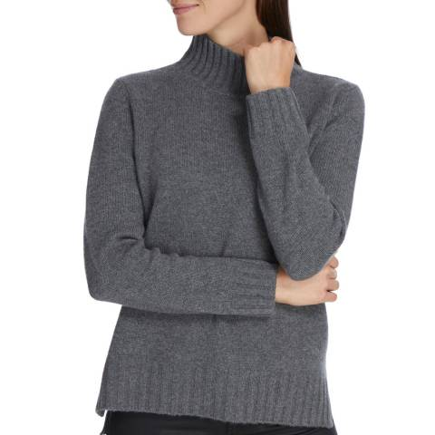 Princess of Scotland Grey Cashmere Funnel Neck Jumper