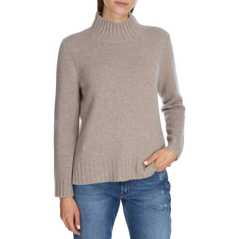 Princess of Scotland Beige Cashmere Funnel Neck Jumper