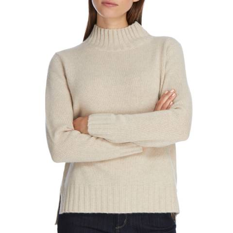 Princess of Scotland Cream Cashmere Funnel Neck Jumper