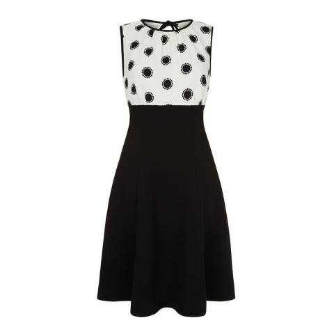 Hobbs London Ivory/Black Sun Spot Dress