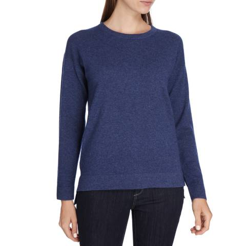 Princess of Scotland Navy Cashmere Stepped Hem Crew Neck Jumper