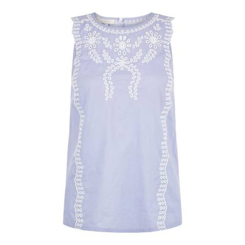 Hobbs London Chambray Blue Embroidered Milly Top