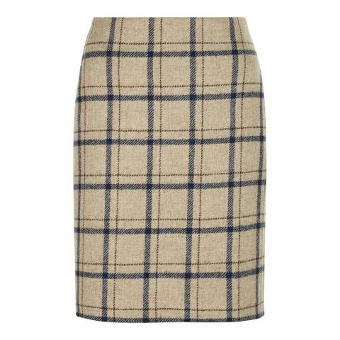 Hobbs London Camel/Multi Tiffany Check Wool Skirt