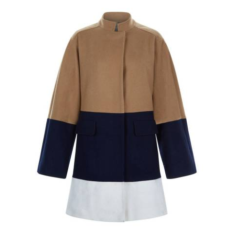Hobbs London Navy/Camel Antonia Coat