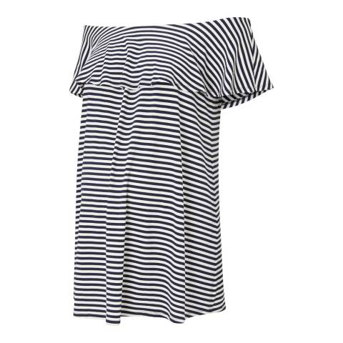 Isabella Oliver Navy and Off White Stripe Jenna Maternity Ruffle Top