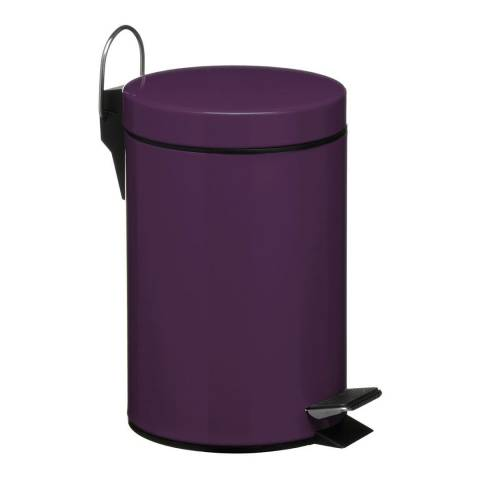 Premier Housewares 3L Pedal Bin with Inner Plastic Bucket, Purple