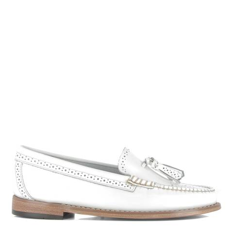 GH Bass Women's White Leather Estelle Brogues