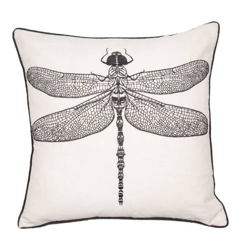 Malini Natural Embroidered Dragonfly Cushion 45x45cm