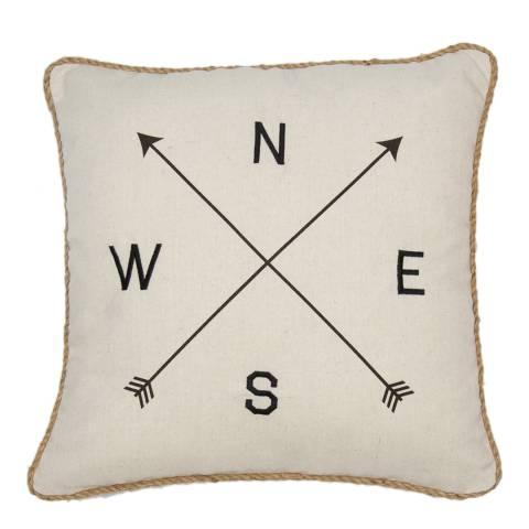Malini Natural Printed Compass Cushion 45x45cm