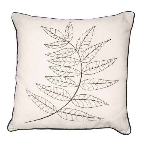 Malini Natural Embroidered Fern Cushion 45x45cm