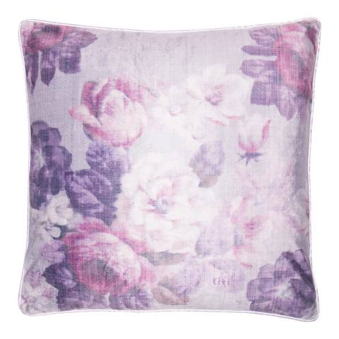 Malini Purple Faux Suede Flowers Cushion 45x45cm