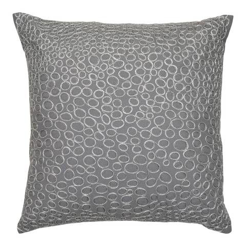 Malini Silver Metallic Embroidered Circles Cushion 45x45cm