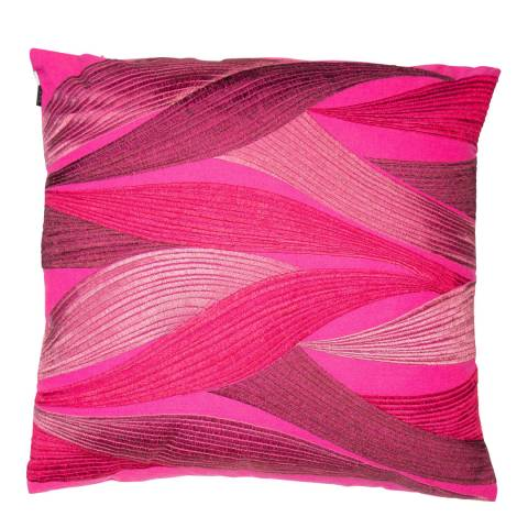 Malini Pink Banana Leaves Embroidered Linen Cushion 43x43cm