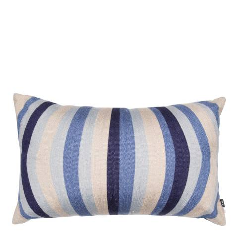 Malini Blue Embroidery Lines Linen Cushion 30x50cm