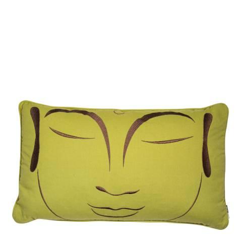 Malini Green Buddha Embroidered Linen Cushion 30x50cm