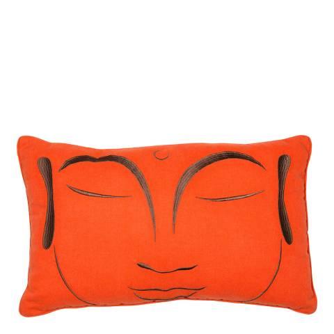 Malini Orange Buddha Embroidered Linen Cushion 30x50cm
