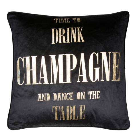 Malini Gold/Black Champagne Velvet Cushion 45x45cm