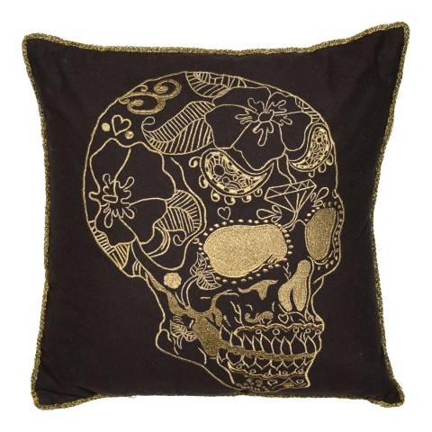 Malini Black/Gold Embroidered Skull Cushion 45x45cm