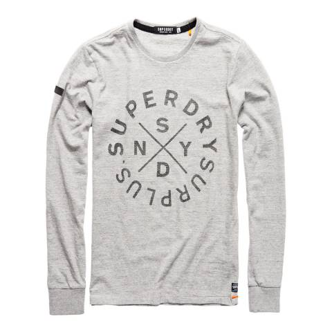 Superdry Grey Surplus Goods Long Sleeve Graphic Tee