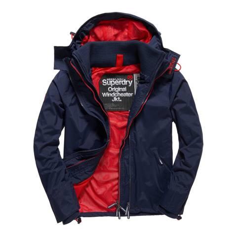 Superdry Navy/Red Tech Hood Pop Zip Windcheater Jacket