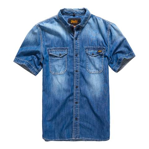Superdry Light Blue Biker Slim Short Sleeve Shirt